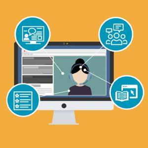 Webinaaripedagogiikka piirroskuva tietokoneruutu, henkilö ruudulla ja neljä palloa webinaariaiheilla.