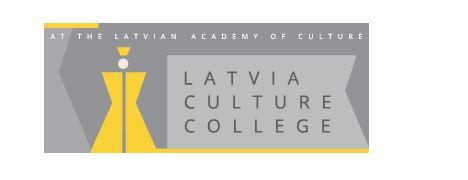 Latvia Culture Collegen harmaakeltainen logo