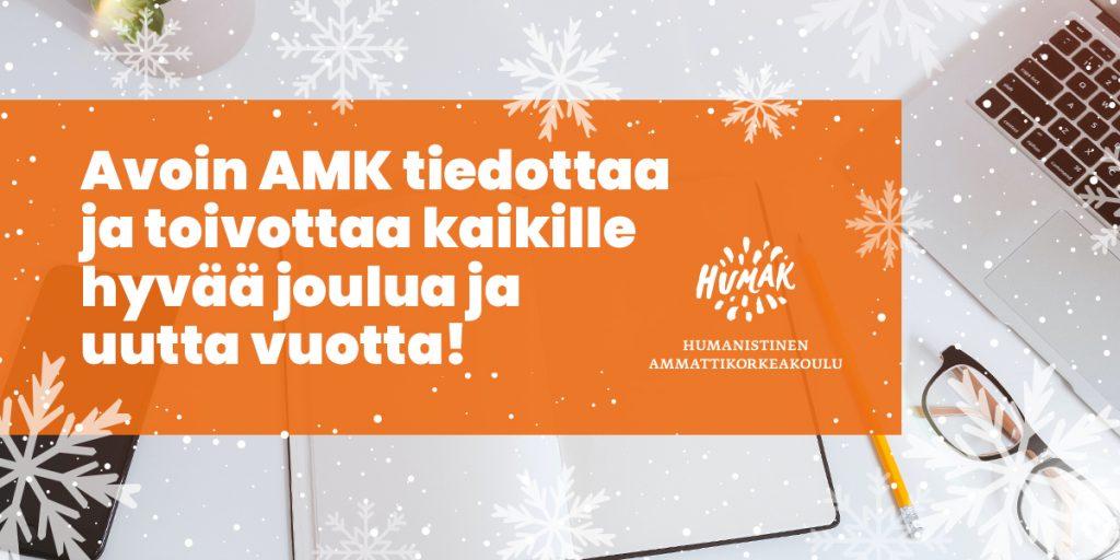Pääkuva Avoin AMK joulutervehdus ja tiedote -tekstillä.