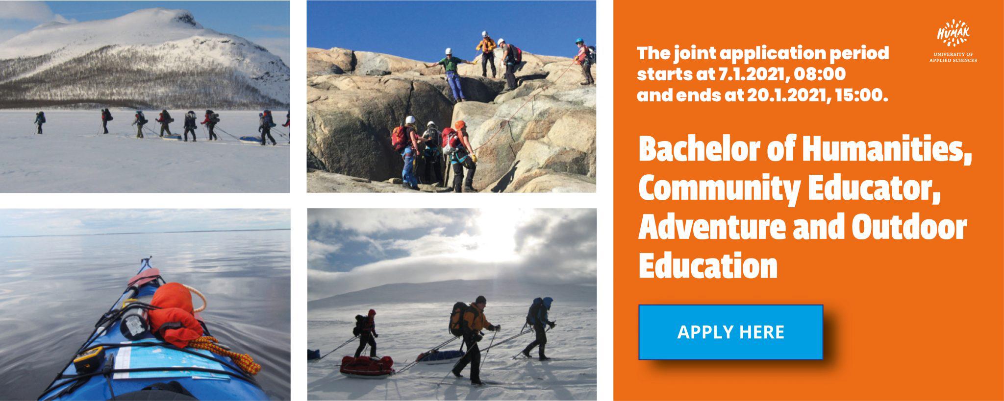 Banneri Adventure and Outdoor Education ilmoittautumissivulle. Sisältää neljä kuvaa: kanootti tyynellä järvellä, kolme hiihtäjää vetävät varusteita perässään, ryhmä opiskelijoita kalliokiipeilemässä, ryhmä hiihtäjiä peräkkäin vuoren edustalla.