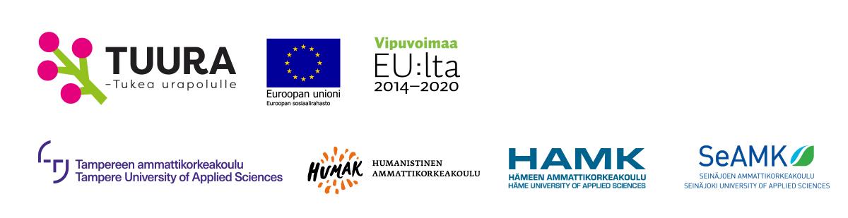 Tuura-hankkeen rahoittajien logot: ESR, vipuvoimaa EU:lta, TAMK, HUMAK, HAMK ja SeAMK.