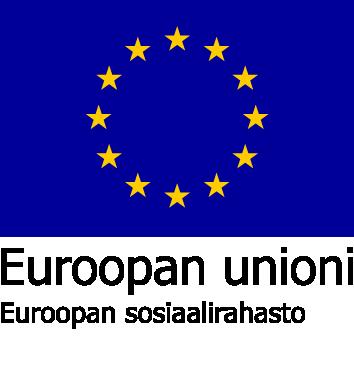 Eu logo, sininen pohja, jossa keltaisista tähdistä muodostuva ympyrä keskellä.