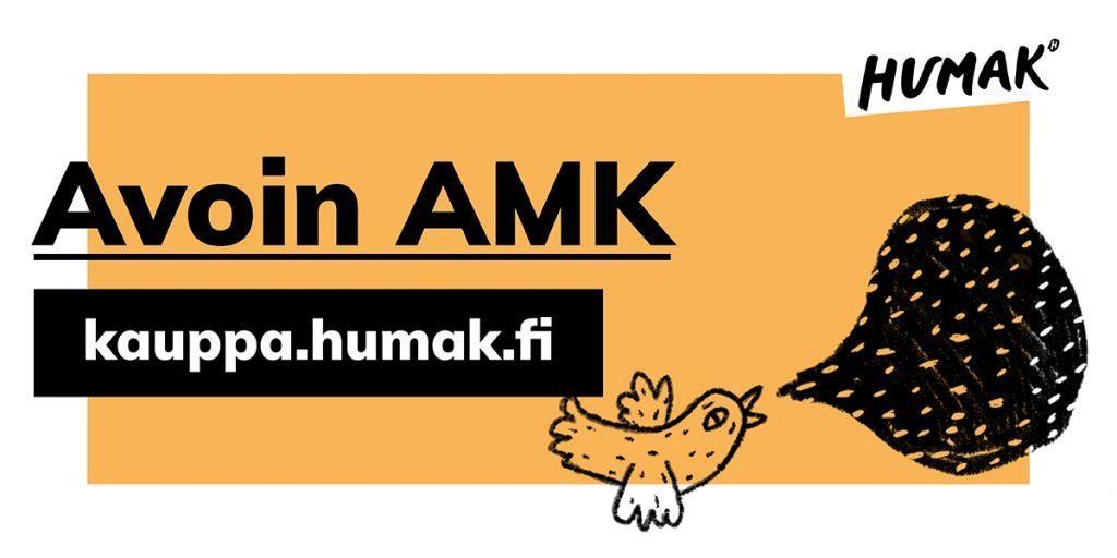 Keltapohjainen avoin AMK yleisbanneri, jossa verkkokaupan osoite, graafinen lintu puhekuplalla.