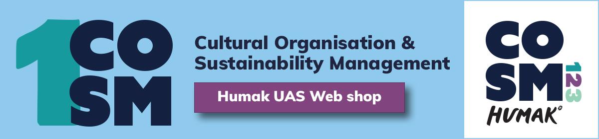 COSM 1, Cultural Organisation & Sustainability Management banneri jossa linkki Humakin verkkokauppaan.