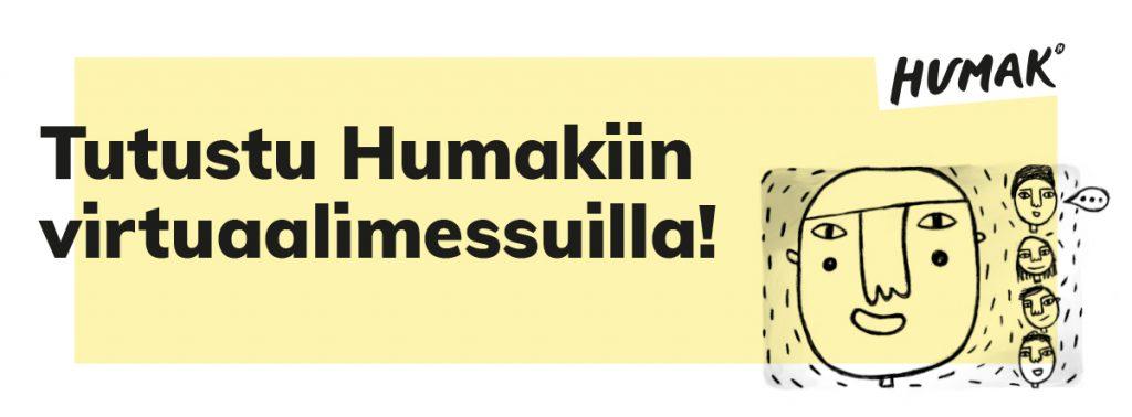 Okrapohjavärinen pääkuva Humakin osallistumisesta virtuaalimessuille, jossa graafisia ihmishahmokuvia kasvoista.