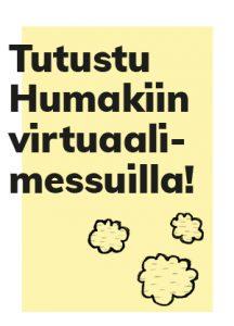 Okrapohjamärinen nostokuvabanneri Humakin osallistumisesta virtuaalimessuille, kolme graafista pilven kuvaa.