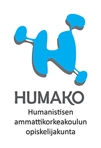 HUMAKO logo pysty sininen H-mukailtu logo ja mustalla tekstit.