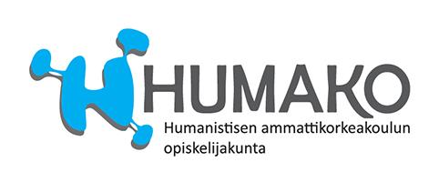HUMAKO logo sini musta, sinisellä H-mukailtu tunnuslogo.