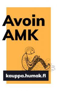 Kuvassa oranssi tausta, piirroshahmo istuu. Kuvassa lukee Avoin AMK ja kauppa.humak.fi