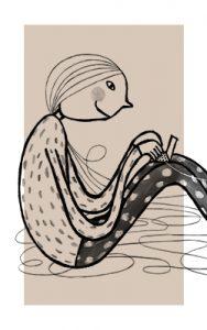 Maitokahvin värisellä taustalla piirroshahmo istuu jalat koukussa ja sylissä on tietokone, ei tekstejä.