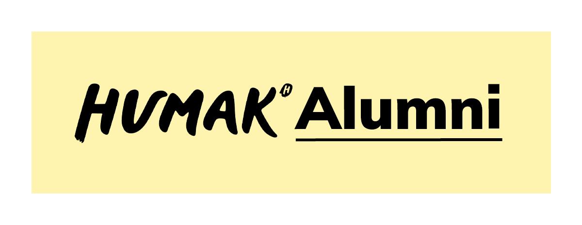 Keltapohjainen kapea ja leveä tekstibanneri alumni Humak.