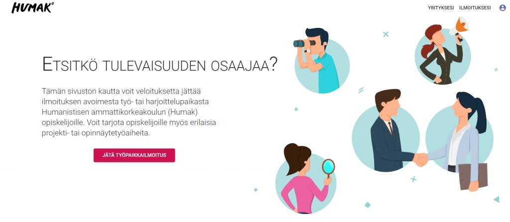 Career.humak.fi palvelun etusivu, jossa työelämän edustajia innostetaan jättämään ilmoitus Humakin opiskelijoille.