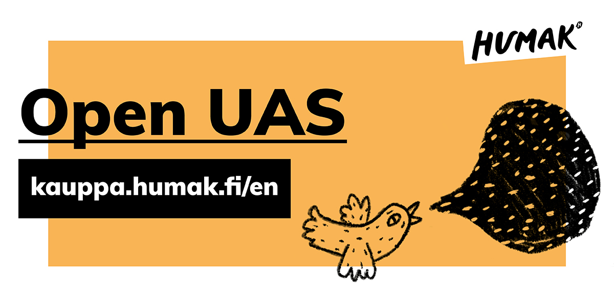 A cartoon bird on an orange backround. Open UAS, kauppa.humak.fi/en