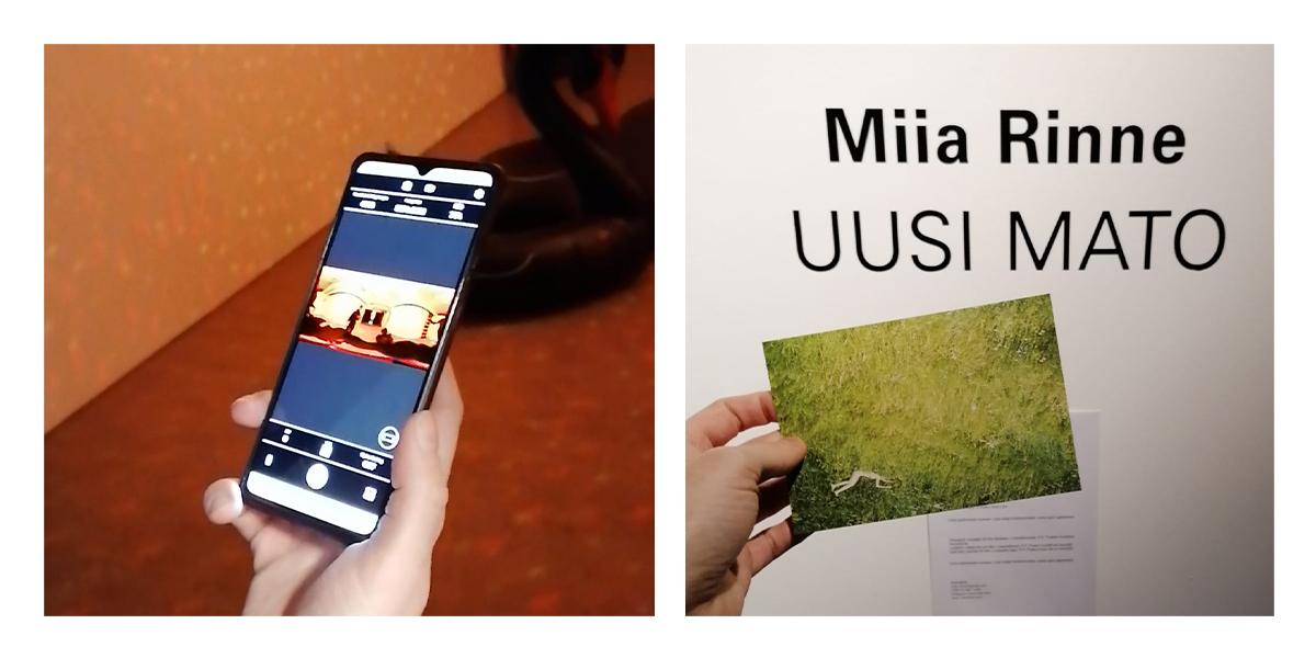Rinnakkaiskuvat, joissa vasemmalla käsi pitää kännykkää, jonka ruudussa näkyy virtuaalikierroskuva. Oikealla kuva näyttelyn kuvasta, jota sormet pitävät.