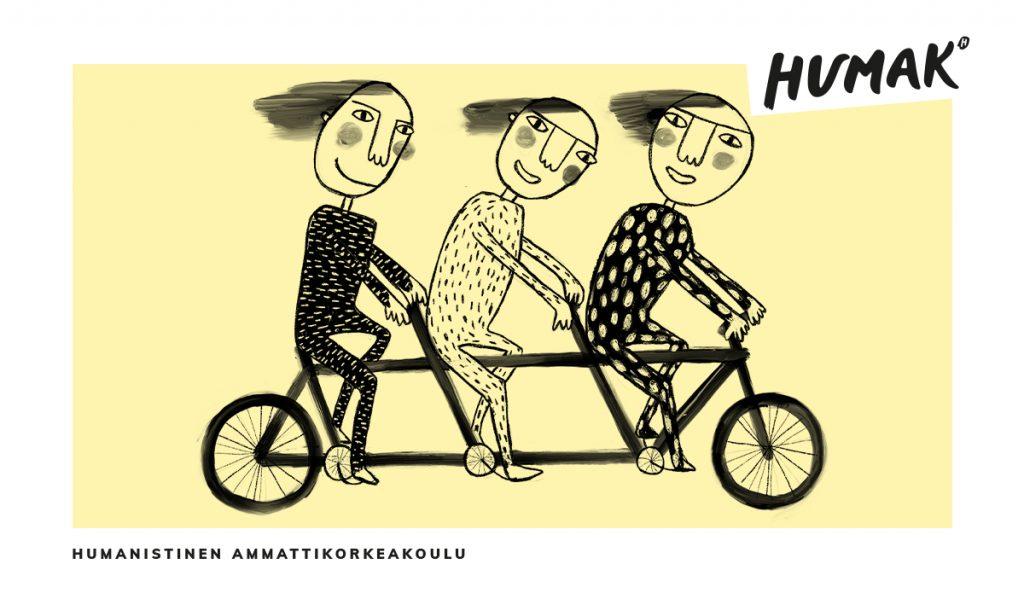 Kolme iloista punaposkista piirrettyä hahmo polkevat tandempolkupyörää hiukset hulmuten sekä teksti Humanistinen ammattikorkeakoulu ja Humakin logo.