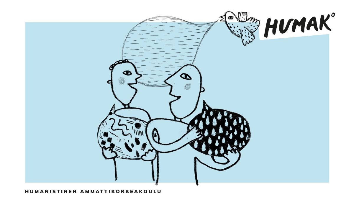 Kaksi piirrettyä hahmoa keskustelee iloisesti ja pitää käsissään suuria puhekuplia. Taustalla lentää lintu, jonka suusta tulee puhekuplasekä teksti Humanistinen ammattikorkeakoulu ja Humakin logo.