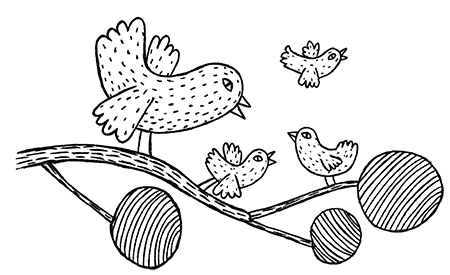 Piirretty puunoksa, jonka päällä on neljä lintua: yksi iso ja kolme pientä.