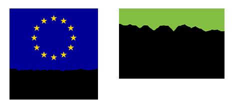 Vierekkäin kaksi EU-rahoittajalogoa Ydinasia hankkeelle. Eu sinipohjainen lippu, jossa ympyränä keltaisia tähtiä, oikealla Vipuvoimaa EU:lta logo.