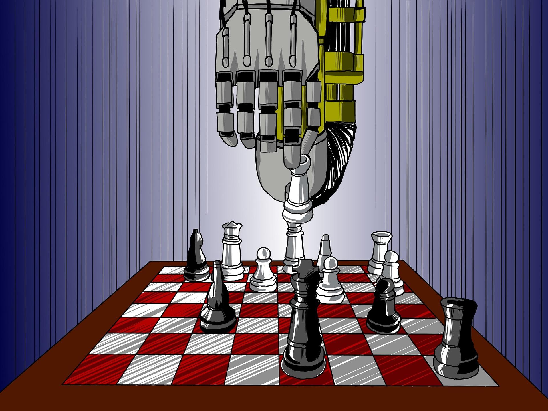Piirroskuva, jossa robotti pelaa shakkia olettavasti itseään vastaan. Robotin käsi on tekemässä siirtoa.