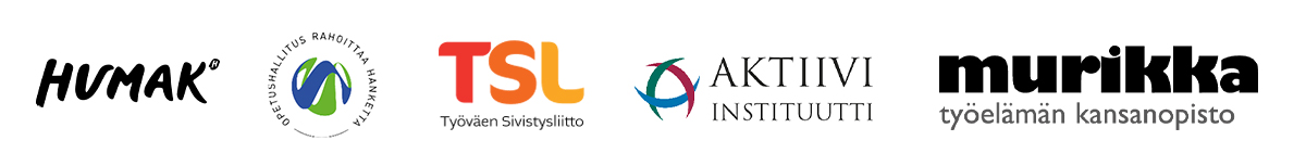 Ennakoinnilla osaamista -hankkeeen logot: Humak, Opetushallituksen logo TSL:n logo Aktiivi-Instituutin logo Murikka-opiston logoOpetushallituksen logo TSL:n logo Aktiivi-Instituutin logo Murikka-opiston logo.