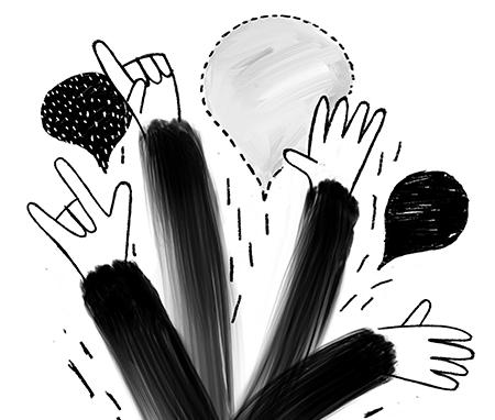 Kädet viuhtovat ilmassa taustallaan puhekuplia.