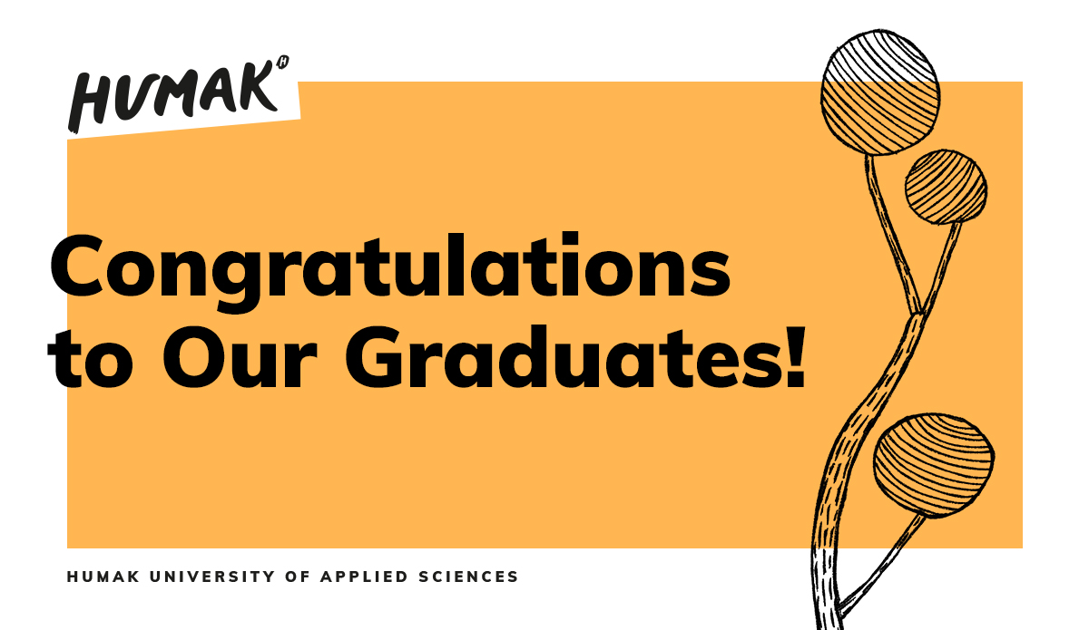 """Black text on an orange backround, the text reads: """"Congratulations to Our Graduates!"""""""