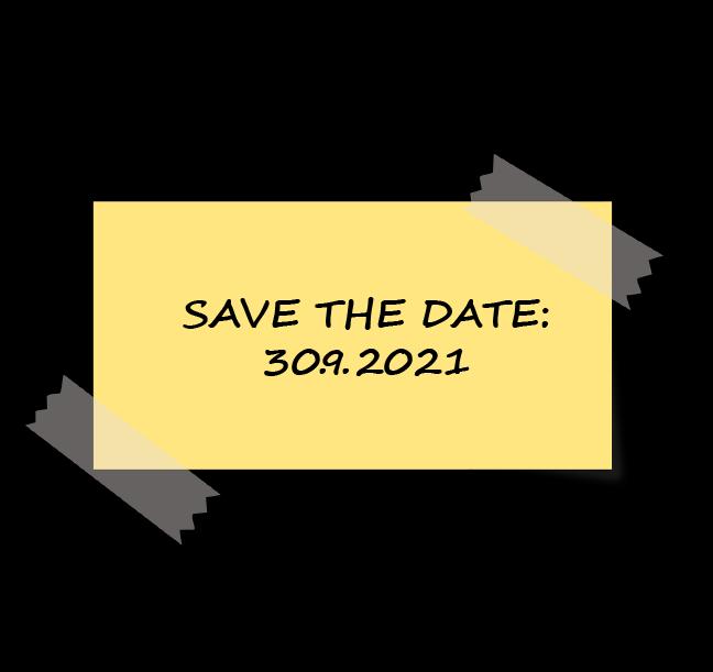 Graafinen kuva save the date muistilippu teipillä kiinnitettynä taustaan.