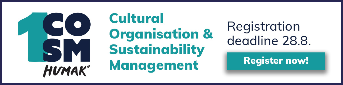 Register now to Cultural organisation and sustainability management link.