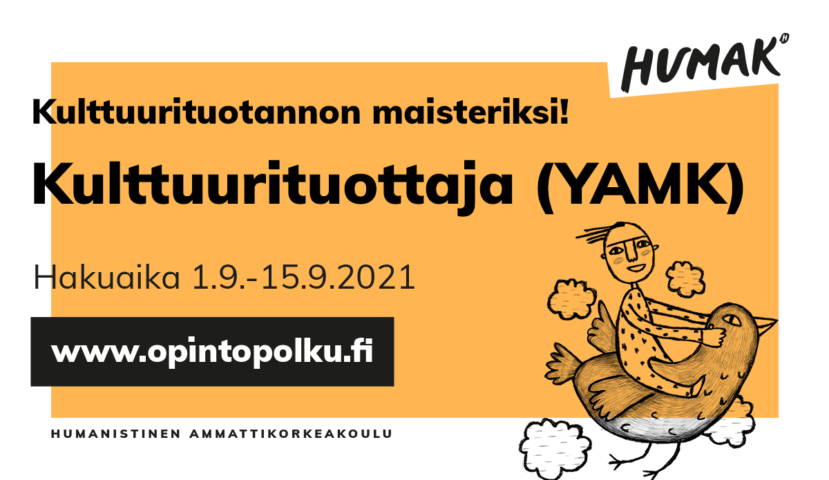 Oranssipohjainen bannerikuva Kulttuurituottaja YAMK hausta, jossa graafinen kuva linnulla lentävä hahmo.
