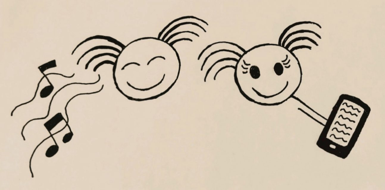 Videon tekstitys -blogi: Piirtämässäni kuvassa on kaksi hahmoa. Toinen kuuntelee ääntä ja toinen lukee tekstiä mobiililaitteelta.