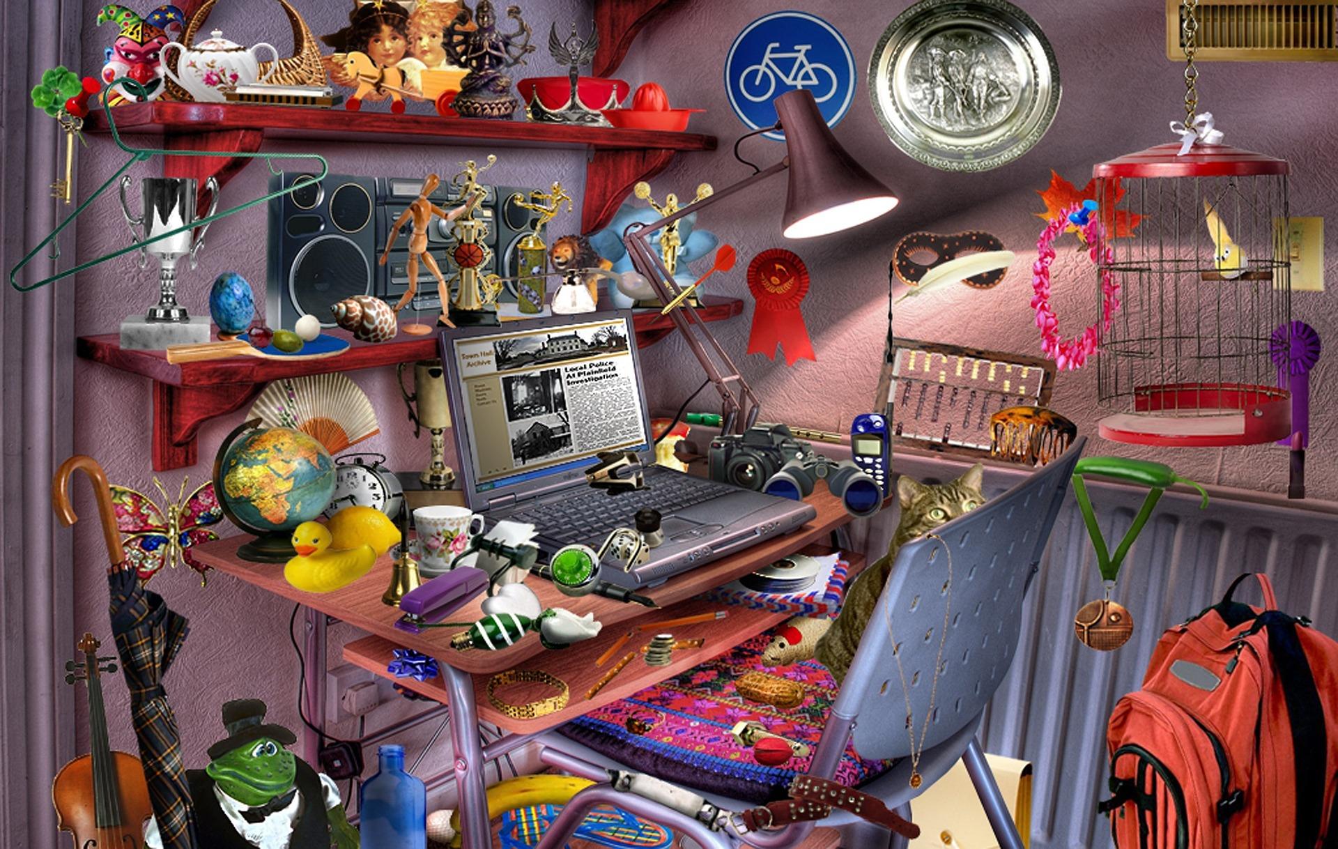 Piirrosmainen kuva huoneesta, jossa paljon nuoren tavaroita, läppäri auki pöydällä.