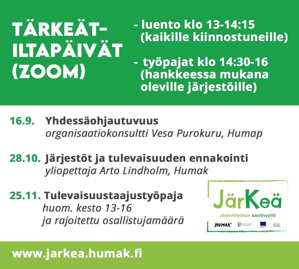 JärKeä-hankkeen iltapäivät banneri, jossa vihreä valkoinen teksti ja väritysasu, hankkeen toteuttajien logot.