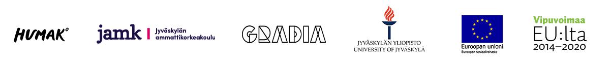 Logot: Humak, JAMK, Gradia, Jyväskylän yliopisto, Euroopan Unioni ja Vipuoimaa EU:lta.