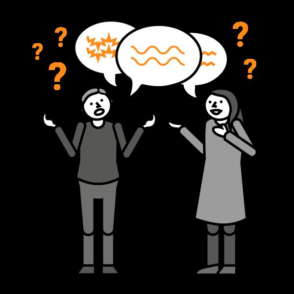 Mies ja nainen piirroshahmot seisovat kädet levällään ja yläpuolella kysymysmerkkejä ja puhekuplia erilaisilla aaltoviivoilla.