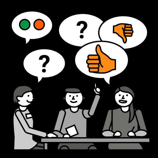Piirroskuva, jossa kolme hahmoa istuu pöydän ääressä, yksi pitää kättä pystyssä, jossa peukalo ylöspäin. Hahmojen yllä puhekuplia, joissa peukku ylös ja alas, kysymysmerkkejä, väripalloja.