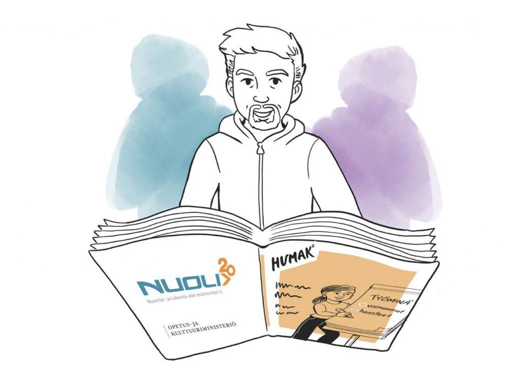 Piirretty mies lukee nuoristyönhyvinvoinnin suosituksia. Hänen molemmilla puolillaan yksiväriset hahmot, toinen violetti ja toinen sininen.