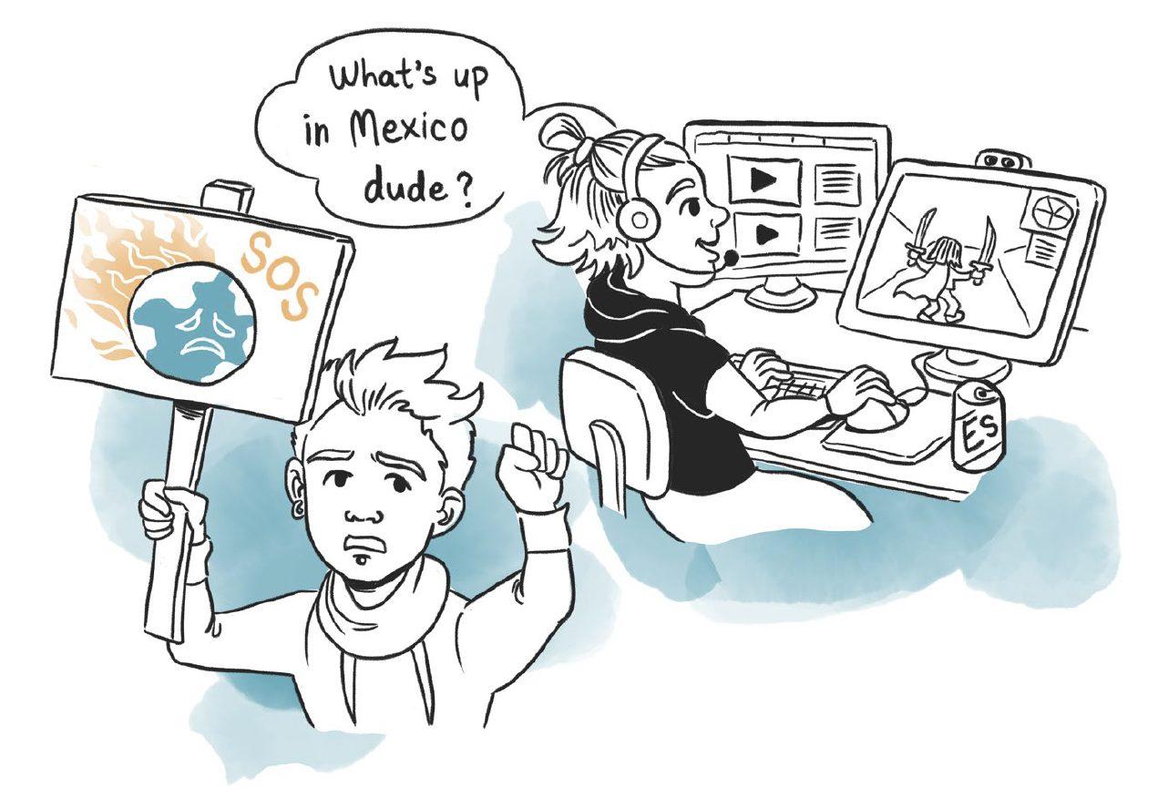 Oikealla mustapaitainen mies pelaa verkkopeliä tietokoneella. Vasemmalla mies nostaa ilmastohätätilakylttiä mielenosoituksessa.