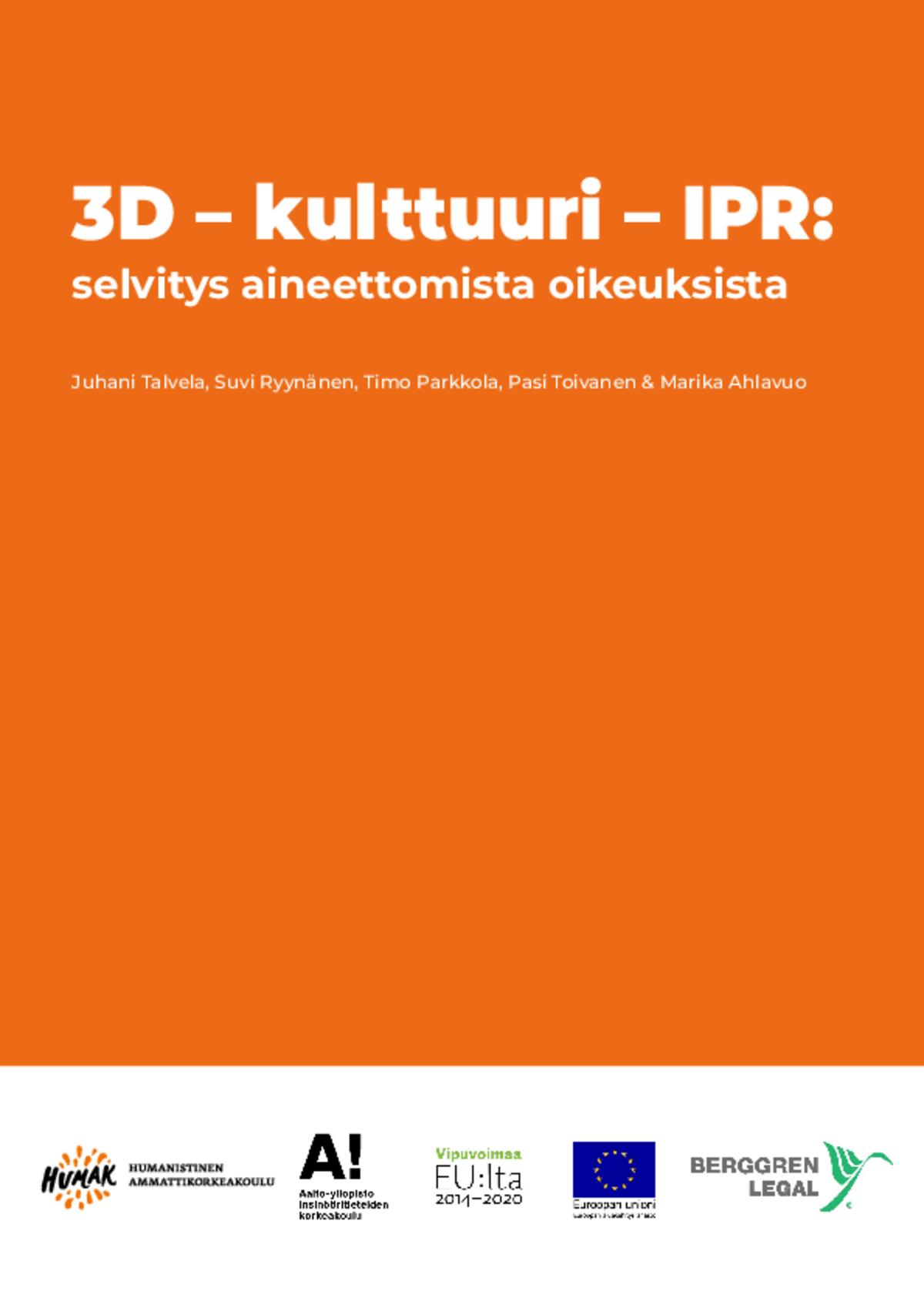 3D – kulttuuri – IPR: selvitys aineettomista oikeuksista